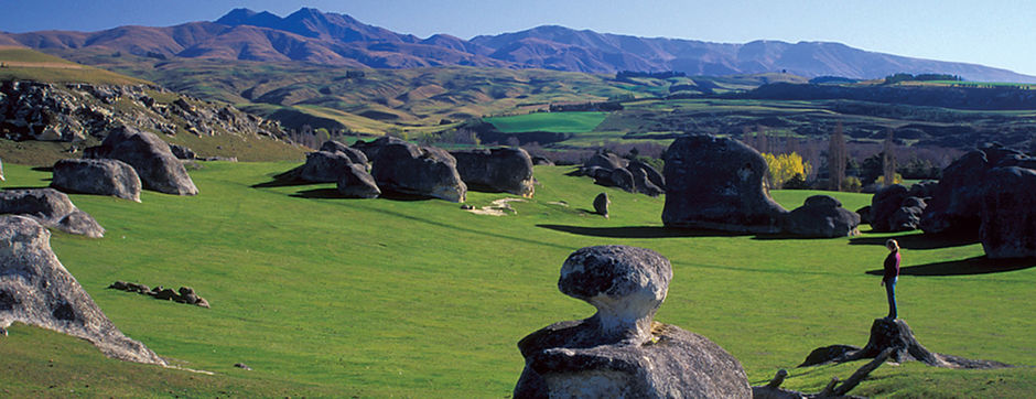 Elephant Rocks, located between Duntroon and Oamaru, are an interesting limestone formation.