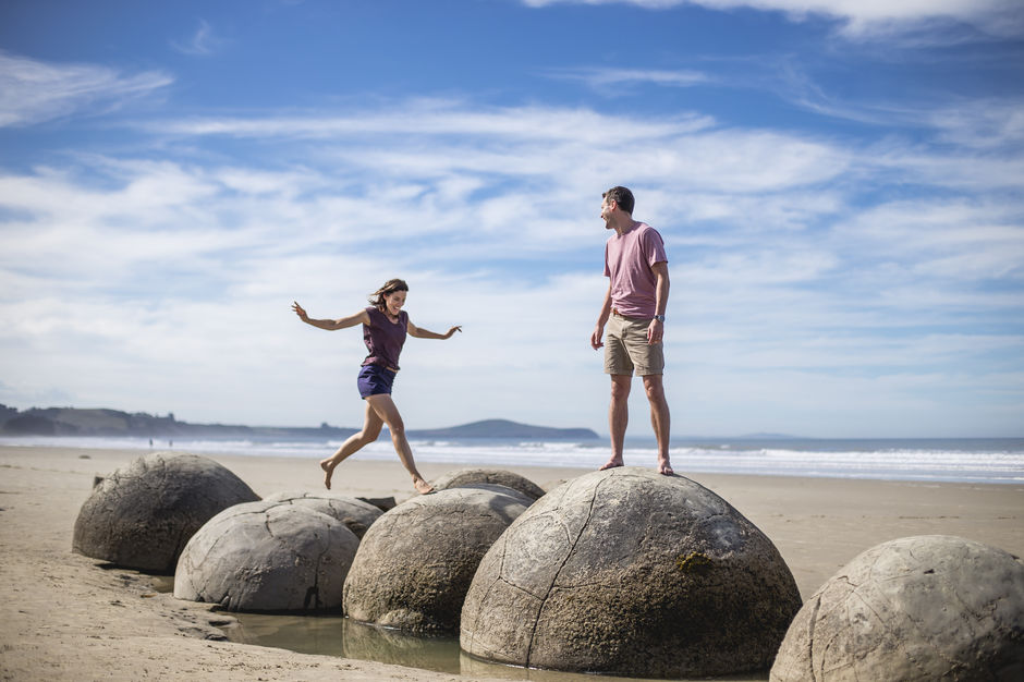 You simply can't drive along the North Otago coast without stopping to play on the Moeraki Boulders - they're amazing!