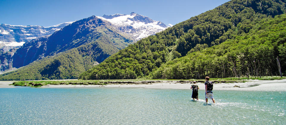 Hiking by the Matukituki River, in Mt Aspiring National Park near Wanaka