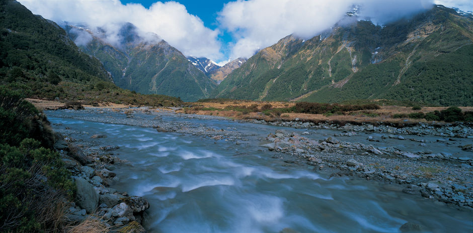 An inspiring Lord of the Rings Trilogy valley in the Mount Aspiring National Park.