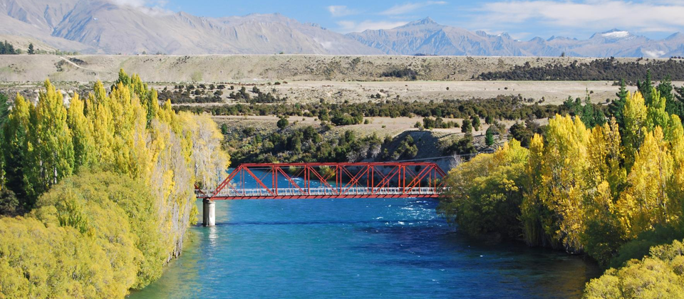 The Red Bridge was built in 1914 and crosses the Clutha River at Luggate.