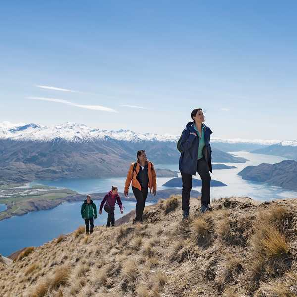 Enjoy the spectacular views from the ridgeline, which take in most of Lake Wanaka and the surrounding peaks, including Mount Aspiring.