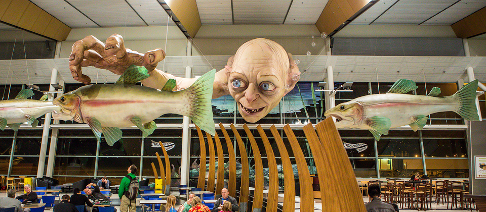 To celebrate The Hobbit trilogy, Wellington Airport installed a giant tribute to one of the story's least likable but most important characters.
