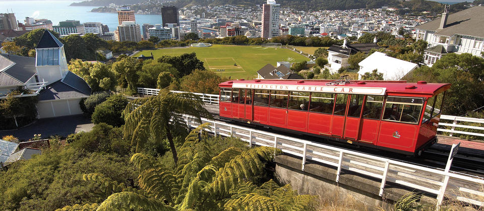 The famous Wellington cable car climbs the hill from downtown Lambton Quay to the Botanic Garden.