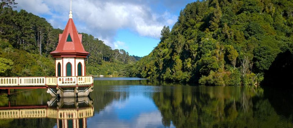 Lower lake and Valve tower Zealandia