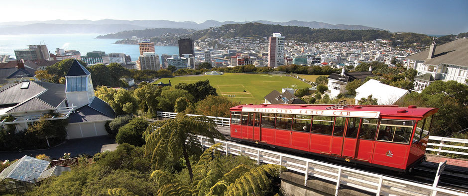One of New Zealand's favourite icons, the famous Wellington cable car climbs the hill from downtown Lambton Quay to the Botanic Gardens.