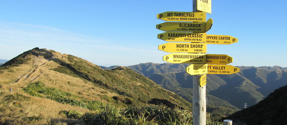 Summit sign of Makara Peak