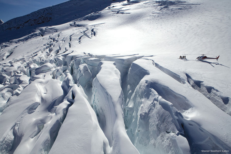 Treat yourself to a scenic helicopter flight, landing high up on a glacier in the Southern Alps.