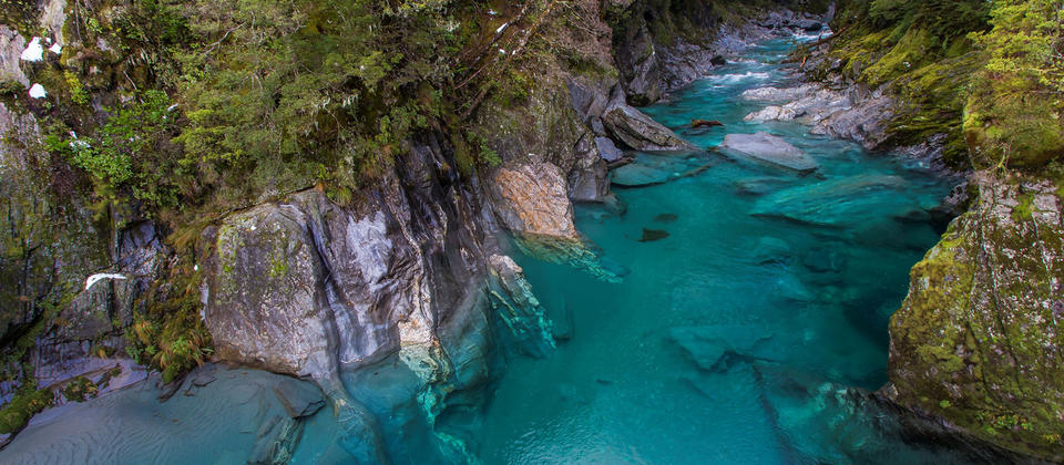 The Blue Pools at Haast Pass are just a short walk off the Haast - Wanaka highway.