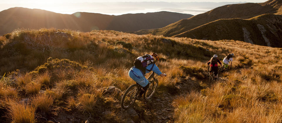 Riding the Croesus Track at sunset