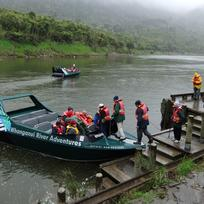 Jet boat loading at Pipiriki with Whanganui River Adventures
