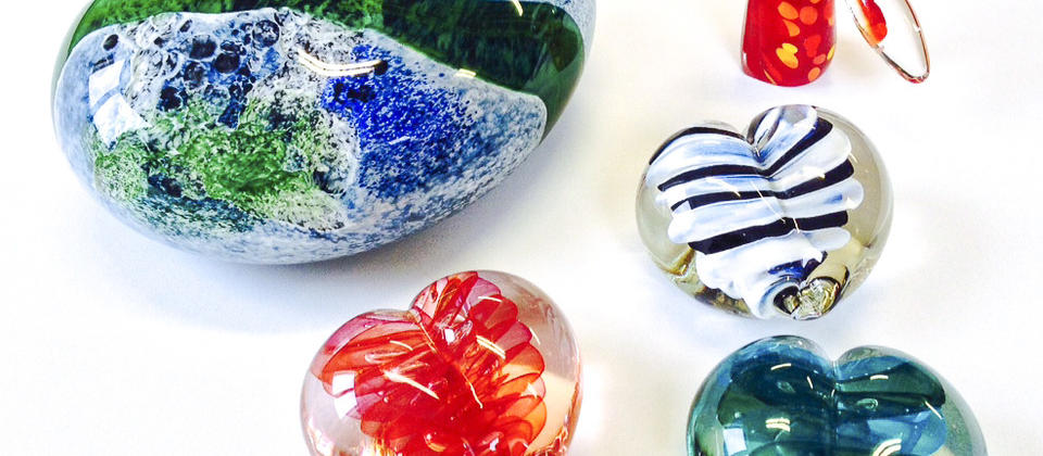 Glass art takes on a range of different forms - from colourful and curved to straighter, more modern lines.