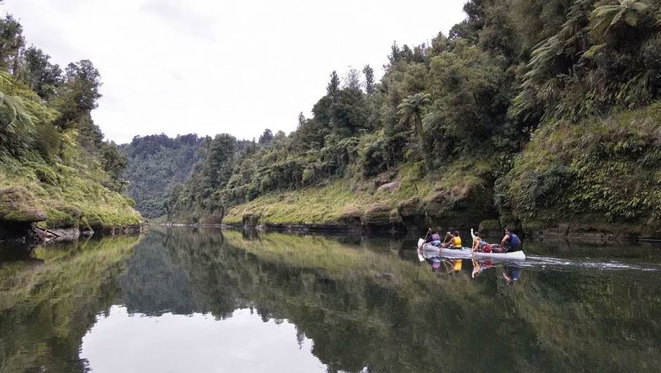 Canoeing down the Whanganui River