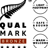 Stacked Qualmark 5 Star Bronze Sustainable Tourism Business Award Logo v2
