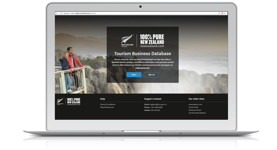 Tourism Business Database homepage laptop cropped