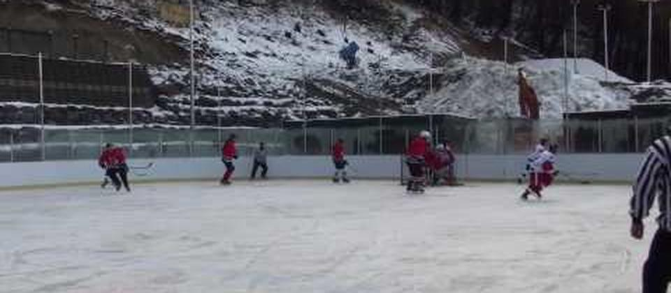 "A few of the local guys having a ""friendly"" game. This is held at Alpine Springs, in Lake Tekapo, New Zealand. The rink is International standard size and used regularly for Ice Hockey matches, Curling and Figure Skating Training. As well as Ice Sports, t"