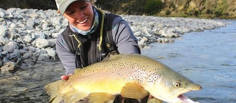 Bessie Bucholz from Boseman, Montana, USA fishing for big Brown Trout at Riverview Lodge in Nth Canterbury.